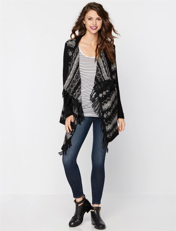 Ella Moss Bias Cut Maternity Cardigan, Black