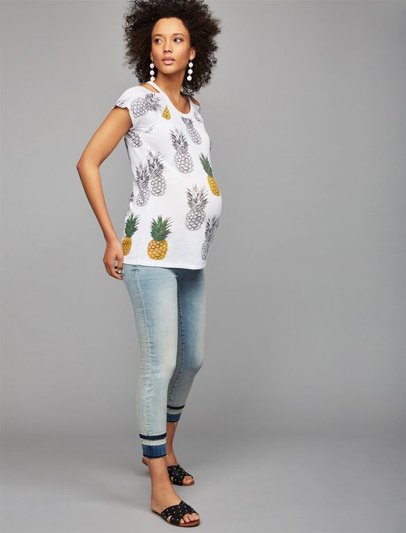 Chaser Pineapple Cold Shoulder Maternity Top, Pineapple Print