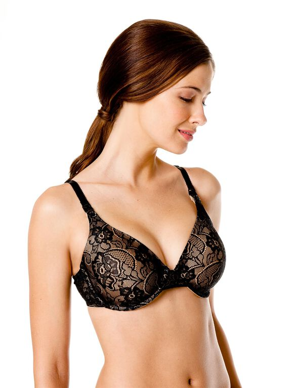 Full Coverage Lace Nursing Bra, NudeBlackLace