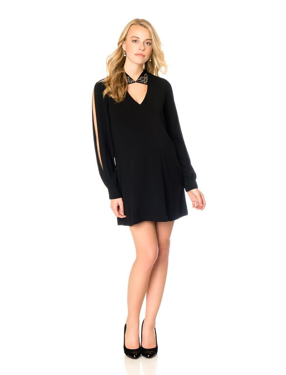 Bcbg Max Azria Embellished Collar Maternity Dres, Black