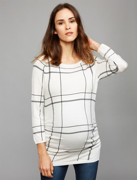 Keyhole Detail Maternity Sweater, White Plaid