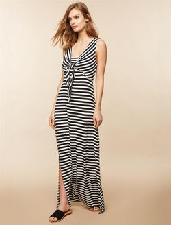 Side Access Knot Front Nursing Dress, Black/White Print