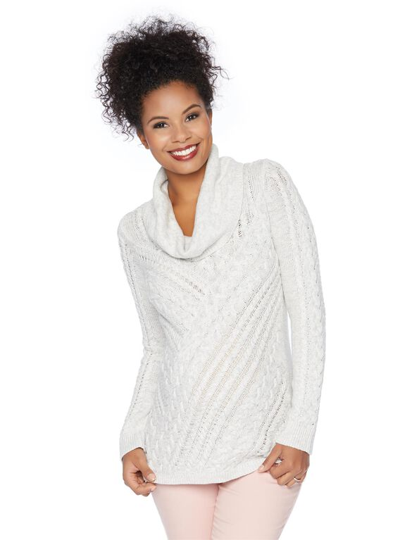 Cable Knit Maternity Sweater, Grey