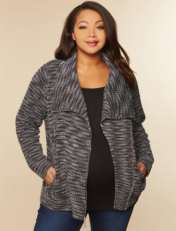 Web Only Plus Size Zipper Detail Maternity Cardigan, Charcoal