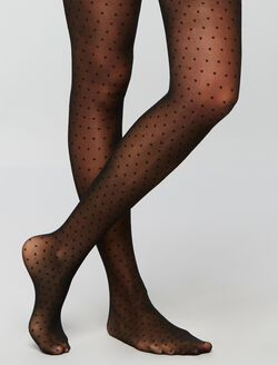 Dot Print Sheer Hose, Black