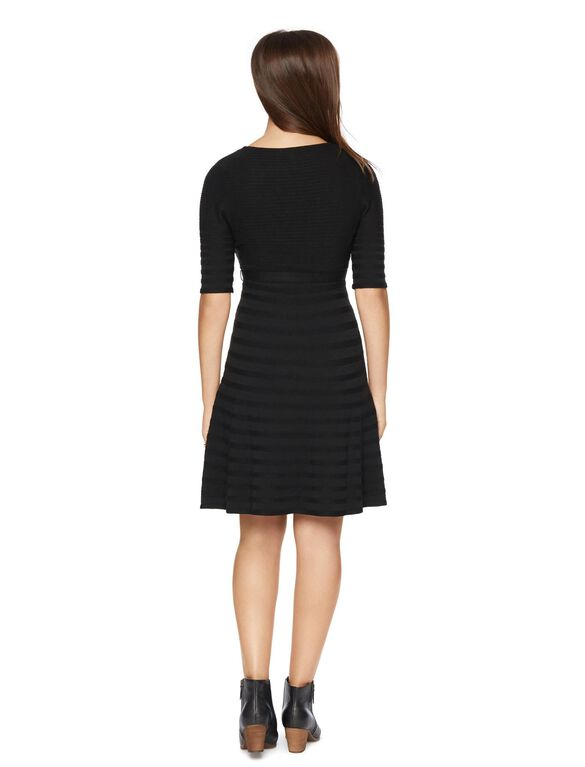 Rib Knit Maternity Sweater Dress, Black