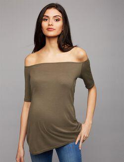 Splendid Off The Shoulder Maternity Top, Olive