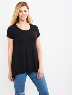 Jessica Simpson Pull Over Side Slit Nursing Top, Black