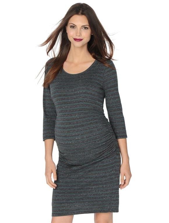 Maternity Dress, Heather Grey/Olive