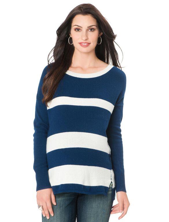 Drop Shoulder Maternity Sweater, Blue/White