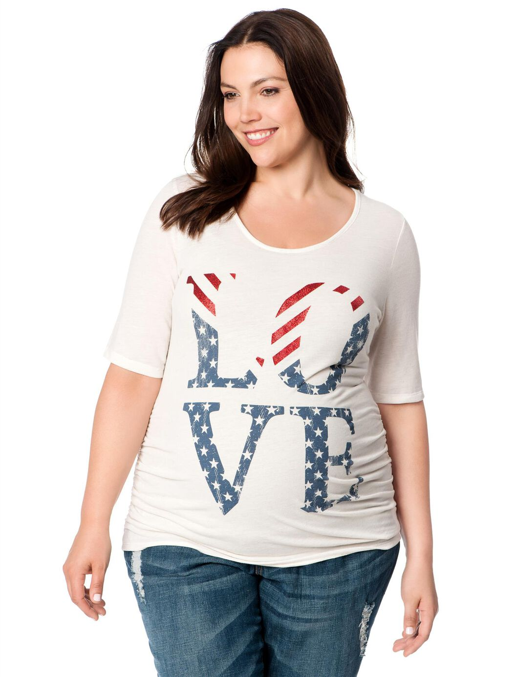 Plus Size Side Ruched Maternity T Shirt Motherhood