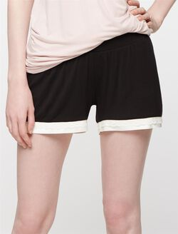 Lace Trim Maternity Sleep Shorts, Black