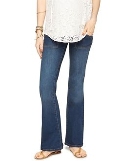 Luxe Essentials Denim Secret Fit Belly Maternity Flare Jeans, Dark Wash