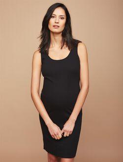 Rib Knit Maternity Dress, Black