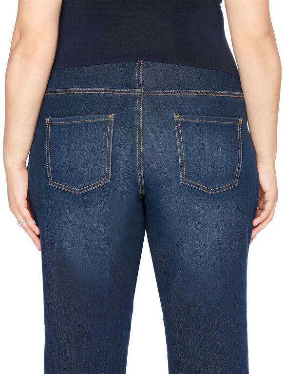 Plus Size Secret Fit Belly Boot Cut Maternity Jeans, Midnight Dark