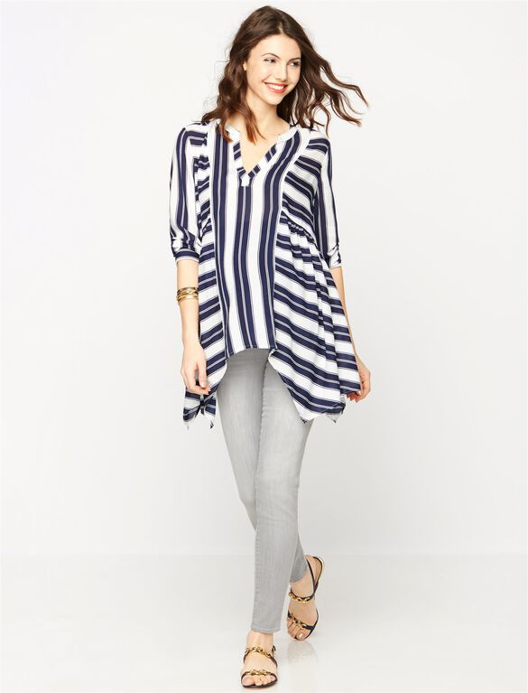 Hanky Hem Maternity Top, Navy/White Stripe