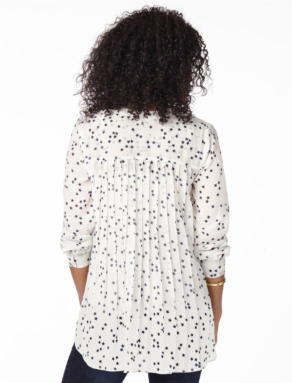 Tie Detail Maternity Shirt, Cream Print