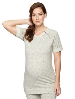 Zipper Detail Maternity Tunic, Grey