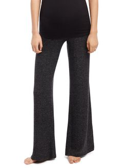 Secret Fit Belly Wide Leg Maternity Pants- Black Marl, Black Marl