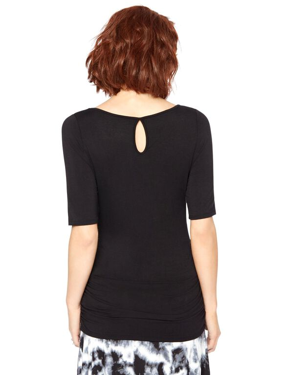 Keyhole Side Ruched Maternity Tee, Black