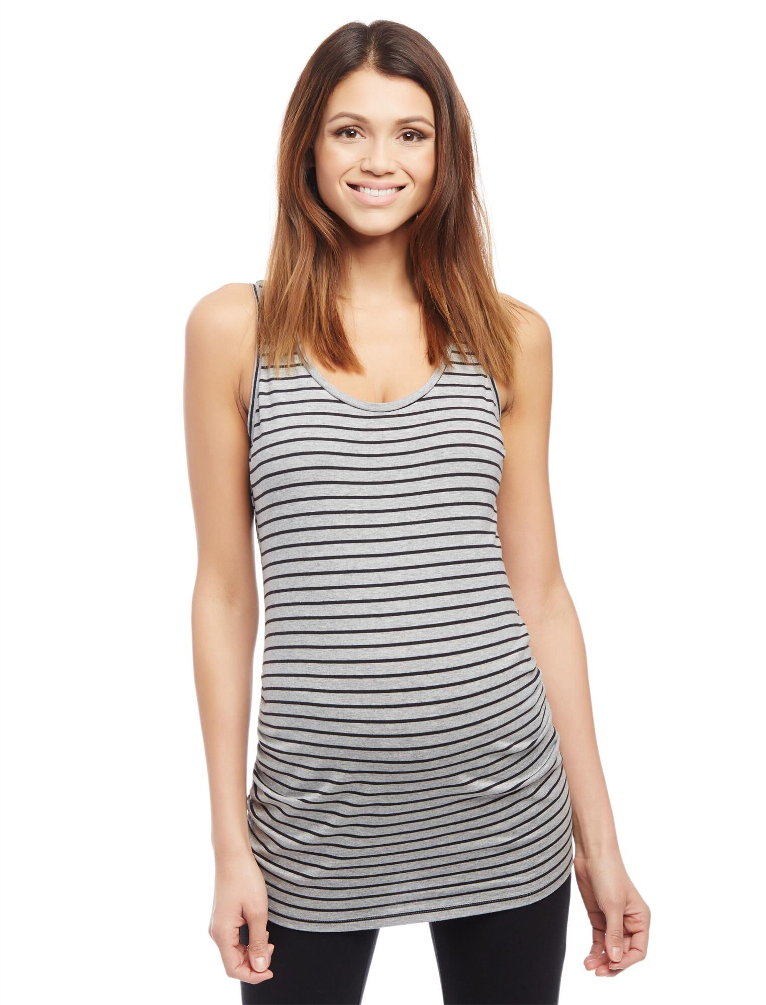 Side Ruched Scoop Neck Maternity Tank Top- Stripe