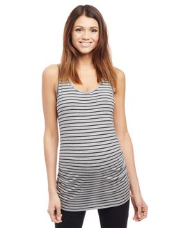Side Ruched Scoop Neck Maternity Tank Top- Stripe, Grey/Black Stripe