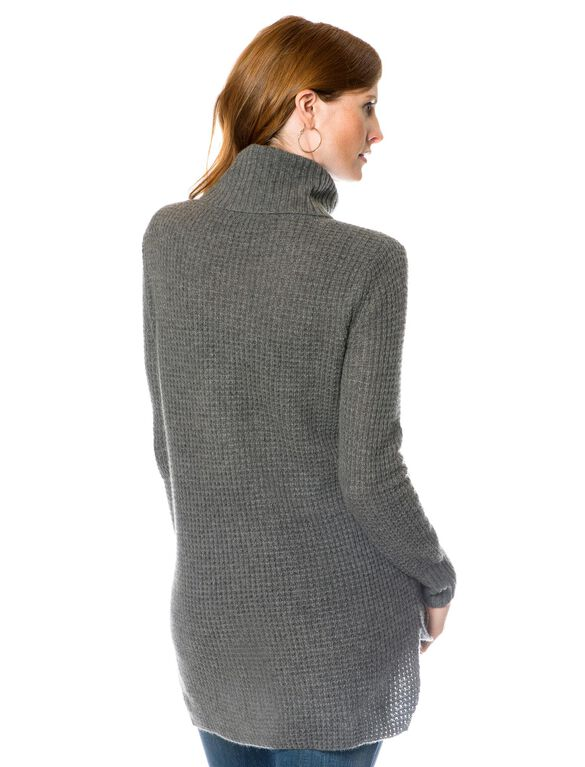 Long Sleeve Cashmere Maternity Pullover Sweater, Dark Heather Grey