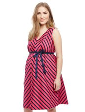 Striped Sateen Maternity Dress, Pink/Navy Stripe