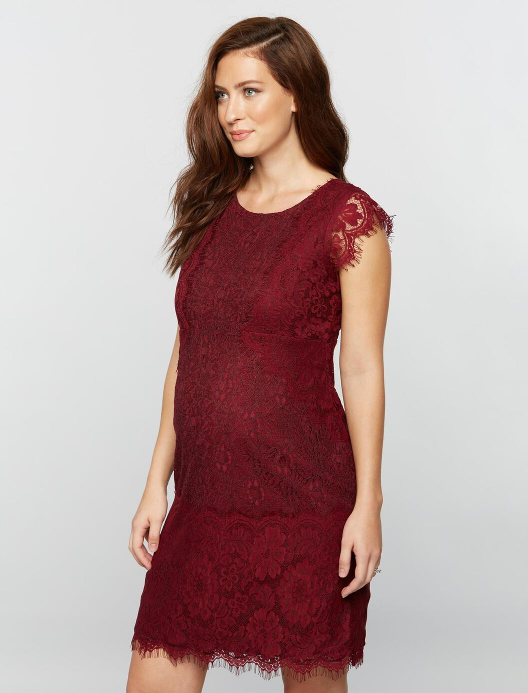 Lace trim cap sleeve maternity dress a pea in the pod maternity lace trim cap sleeve maternity dress fall burgundy ombrellifo Gallery