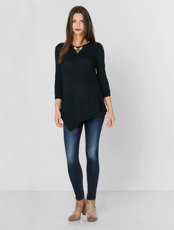 Relaxed Maternity Sweater, Green/Black Marl