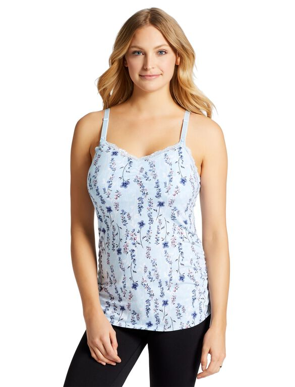 Jessica Simpson Clip Down Shelf Bra Nursing Cami- Floral, Blue Floral