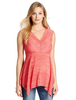 Jessica Simpson Lace Maternity Tank Top, Coral