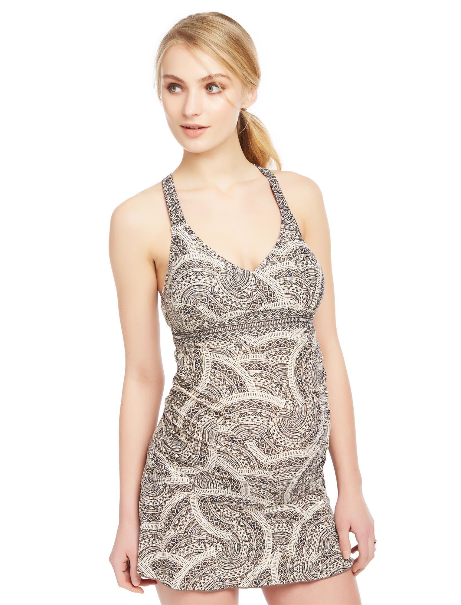 Mixed Geo Print Twist Back Maternity Tankini Swimsuit