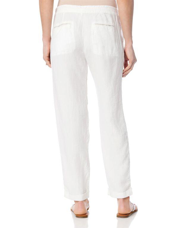 Pull On Style Linen Straight Leg Maternity Pants, Pocelain