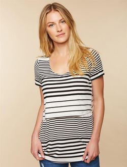 Lift Up Slim Fit Nursing Shirt, White Black Stripe