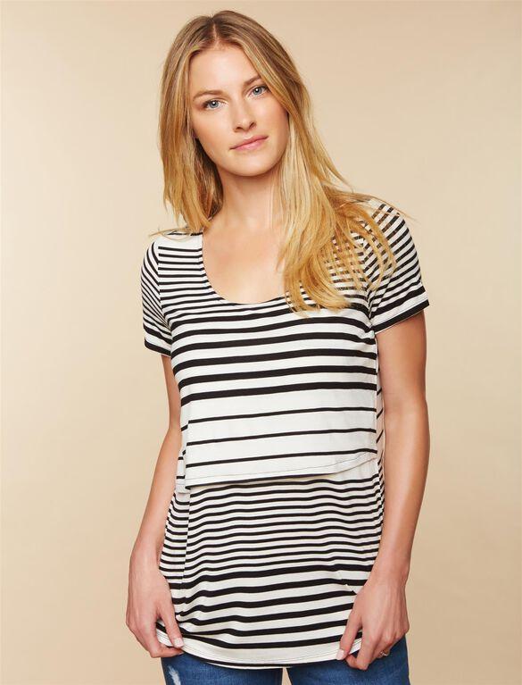 Lift Up Slim Fit Nursing Shirt, White Black Stripe