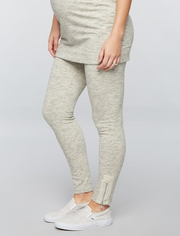 Under Belly French Terry Maternity Leggings, Heather Charcoal