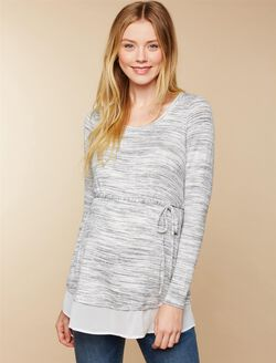 Woven Hem Maternity Shirt, Grey/White