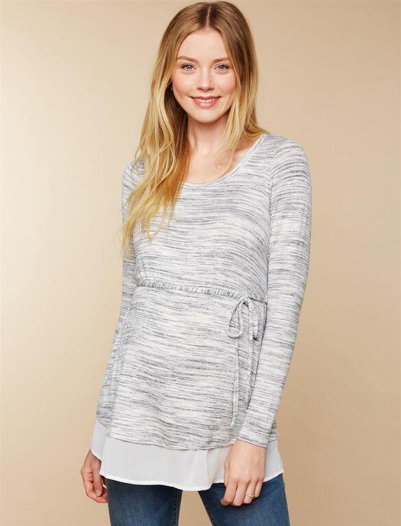 Woven Hem Maternity Shirt, Grey/White