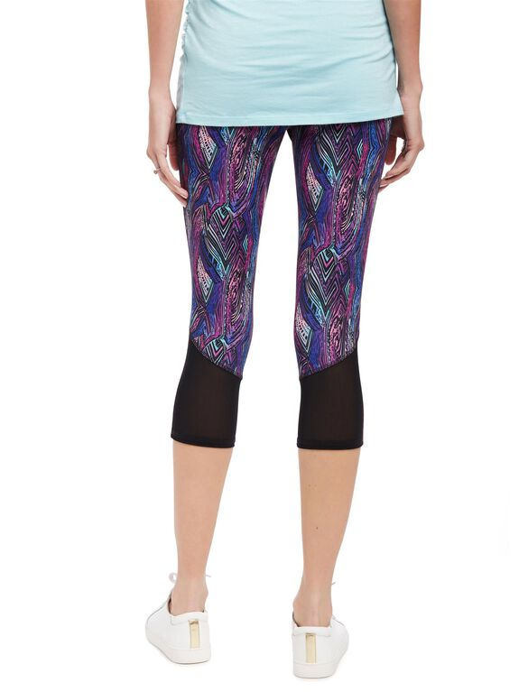 Secret Fit Belly Performance Mesh Maternity Crop Leggings, Multi Stripe