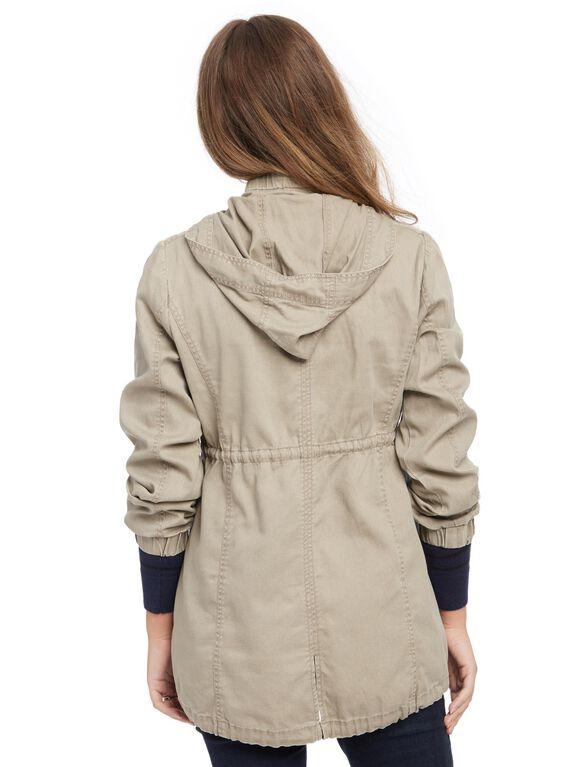 Drawstring Anorak Maternity Jacket, Taupe