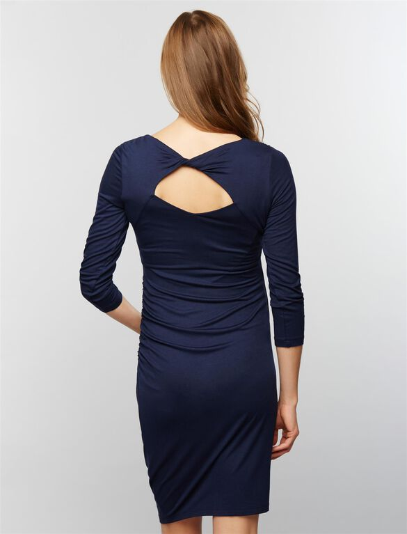 Keyhole Detail Maternity Sheath Dress, Navy