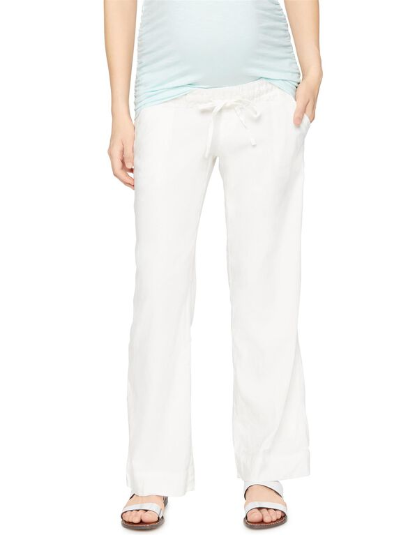 Under Belly Linen Wide Leg Maternity Pants, Soft White