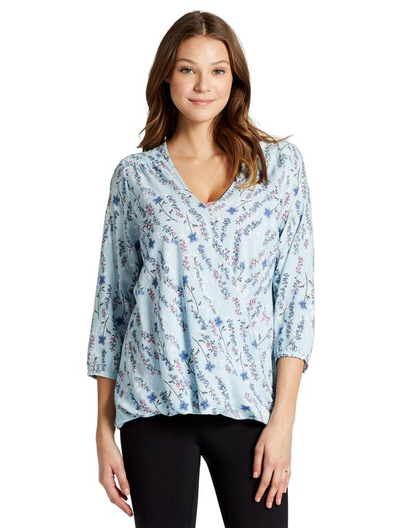 Jessica Simpson Pull Over Shirring Detail Nursing Top, Blue Floral