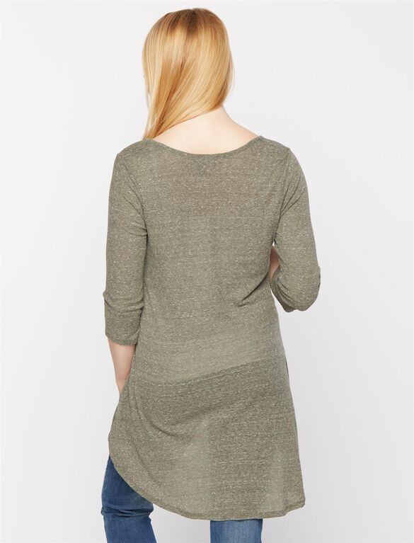 High-low Hem Maternity Tunic, Washed Olive