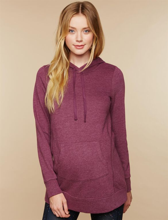 French Terry Maternity Hoodie, Rosewood