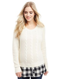 Cable Knit Plaid Maternity Sweater, Cream/Plaid