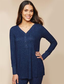 Henley Maternity Sleep Top, Navy