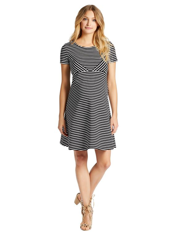 Jessica Simpson Striped Maternity Dress, Black/White Stripe