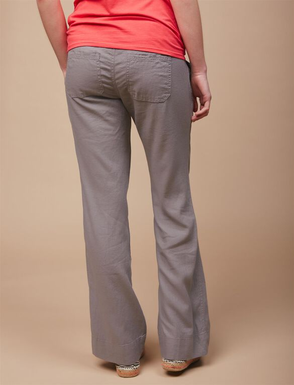 Under Belly Linen Blend Straight Leg Maternity Pants, Grey